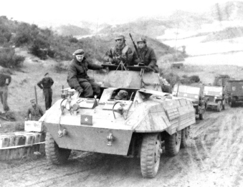 The US pattern general officer rank 'star' used by Brigadier Rockingham on his M8 Greyhound, in Korea.