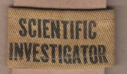 SCIENTIFIC INVESTIGATOR slip-on, printed on heavy cotton drill. Author's collection.