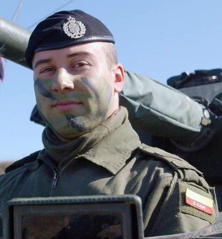 Stalwart Guardian 2003. A member of the First Hussars wearing the 3 CAR patch. DND photo.