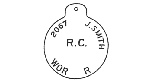 The second pattern ID disc disposed of the rank as well as the smaller characters for both rank and Regiment - which required a second set of smaller stamps.