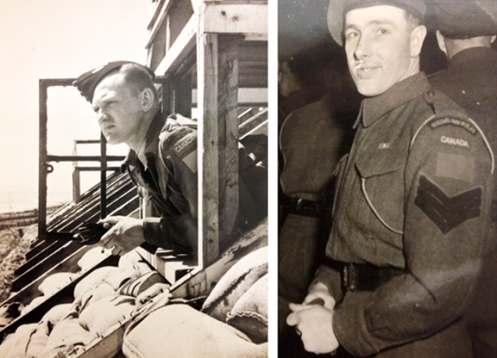 Left, QOR Officer looking over the channel .  Right, QOR Sgt in Holland 1945. QOR Museum Photo