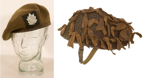 "Canadian made 1944 Left, Beret with QOR badge and backing.  Right, British-made Mk III ""Turtle shell"" helmet with Canadian helmet net, scrim and field dressing. Graham Humphrey Collection"