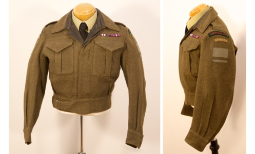 A 1945-46 occupation tunic. Notice the addition of the occupation stripe and the tailored collar with black cloth.