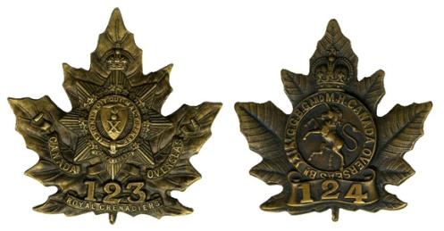 Badges of the 123rd and 124th Batalions which were converted to Pioneer battalions. Courtesy http://www.britishbadgeforum.com