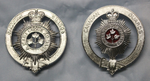 Although the first pattern badge (left) was that approved by the Queen, the second pattern (right) was more in keeping with the actual regimental badge. Courtesy Bruce Graham
