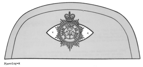 army Headquarters drawing of the suggested cantle. The whole item, as with other badges and distinctions, were to be of polished white metal.