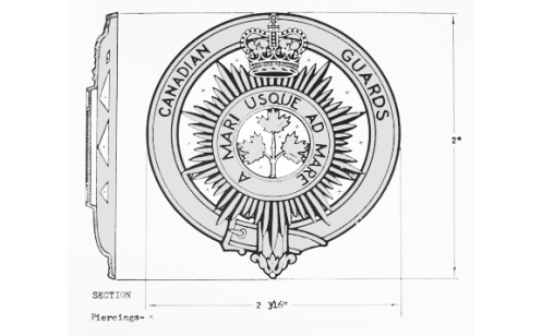Drawing of the proposed badge to be worn on the feather bonnet by pipers, as approved by the Queen.