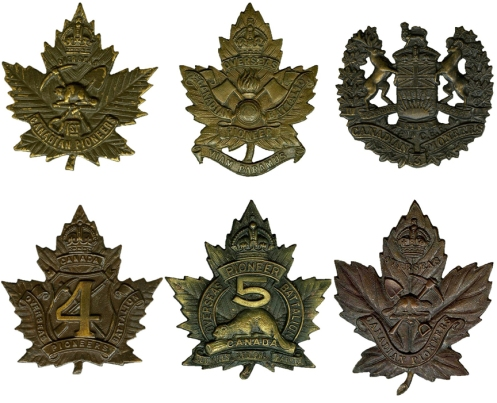 Badges of the 1st to 6th Pioneer Battalions, CEF. Courtesy http://www.britishbadgeforum.com/