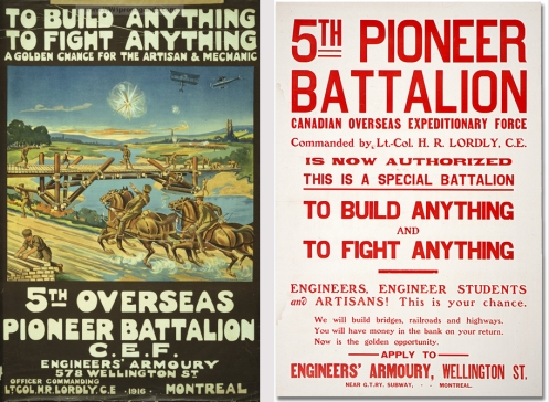 Recruiting posters produced by the 5th Pioneer Battalion, CEF.