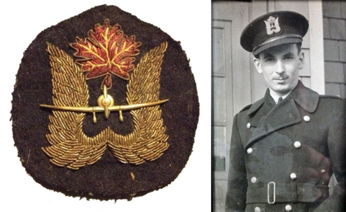 EFTS Cap badge. On the right is Instructor Charlie Harrod, circa 1943. Cam Harrod collection