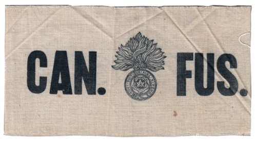 Canadian Fusiliers. Black silk-screened on natural cotton. This is one of the few that includes an image in addition to lettering. Courtesy B. Alexander © 2014. Image may not be used without express permission.