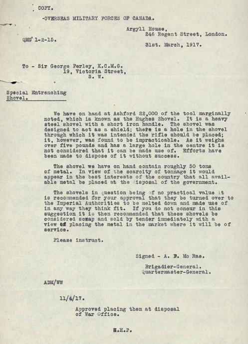 Correspondence on the ultimate disposal of the shovels. Library and Archives Canada e000000301