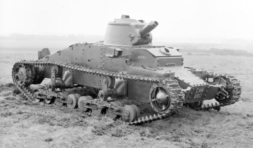 A 3/4 front view of the pilot model of the Infantry Tank Mark I, Matilda I (A11), designated A11E1 (and baring the War Department number T1724, and the Road Registration number CMM 880), which was delivered for trials in September 1936, to the British Mechanization Experimental Establishment, Farnborough, Hampshire. Source: IWM (KID 68).