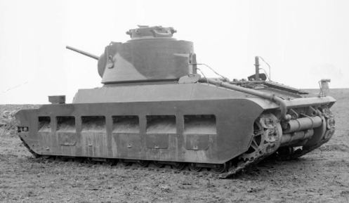 A 3/4 rear view of the pilot model Infantry Tank Mark II, Matilda II (A12), designated A12EA1 (barring the Road Registration number HMH 786). This pilot model was delivered for trials in April 1938, to the British Mechanization Experimental Establishment, Farnborough, Hampshire. Source: IWM (KID 465).