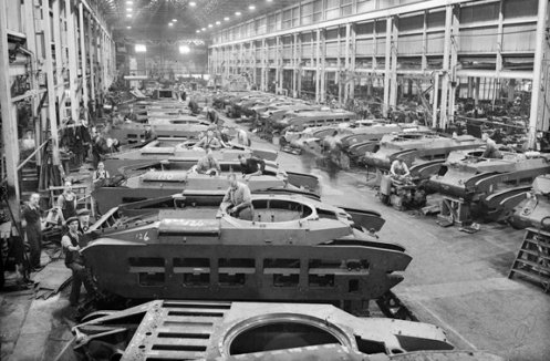 The view of a busy Matilda tank assembly line, at a factory somewhere in the United Kingdom. Source: IWM (P 58).