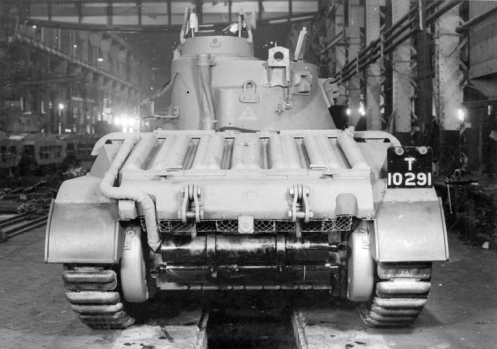 As noted in the text, the Mark II Matilda II, and the Mark IIA Matilda II, that were powered by twin AEC diesel engines, could be identified from the rear, by the simple fact, that only one exhaust pipe ran down the left side of the engine deck, as can be seen here on the rear of T10291, a Mark II, Matilda II. Source: authors' collection.