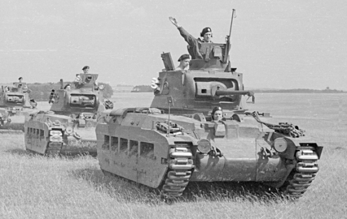 A column of Matilda tanks of the 12th Canadian Army Tank Battalion (The Three Rivers Regiment (Tank)), led by T10163, a Mark IIA* Matilda III, which was taken-on charge of the Canadian Army Overseas, and issued to the Three Rivers Regiment, on 16 July 1941. Source: MilArt photo archive.