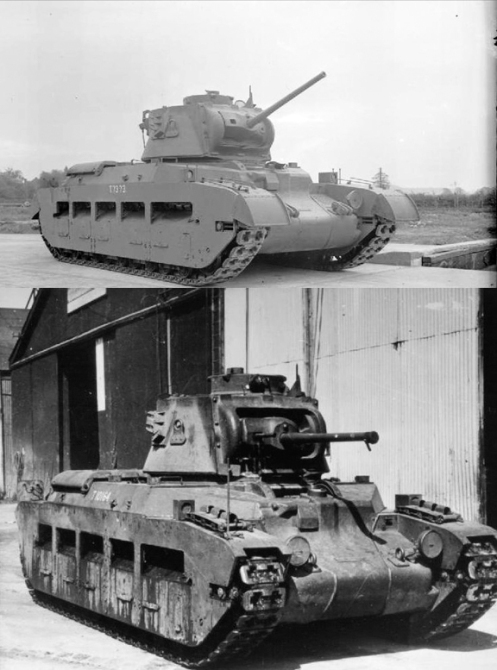 As mentioned at the end of Part 1, the Mark IIA Matilda II (powered by twin AEC diesel engines), and the Mark IIA* Matilda III (powered by twin Leyland diesel engines), could only be identified as such from the rear, by the simple fact, that the Mark IIA Matilda II had only had one exhaust pipe running down the left side of the engine deck, while the Mark IIA* Matilda III had an exhaust pipe running down each side of the engine deck. As can be seen in this photo, other then the exhaust pipe(s), both the Mark IIA Matilda II, and the Mark IIA* Matilda III were identical in appearance when viewed from the front. The top image is of a Mark IIA Matilda II  (Source: IWM (KID 782)), while the bottom image, is of a Mark IIA* Matilda III (Source: IWM (MH 9264)).