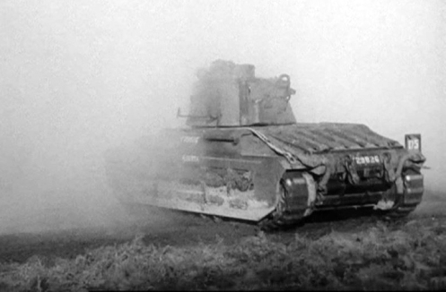 "A rear view of T29826, a Mark IIA* Matilda III Close Support tank, of ""A"" Squadron Headquarters, the Calgary Regiment. The number '175,' that appears on the plate mounted on the right-rear track guard, is the Arm of Service marking, by which the Calgary Regiment's vehicles were identified throughout the period of the Second World War. For the Calgary Regiment, the Arm of Service marking, was a horizontally divided blue over brown coloured square, with the superimposed, centrally located three digit number '175,' in white. Source: authors' collection."