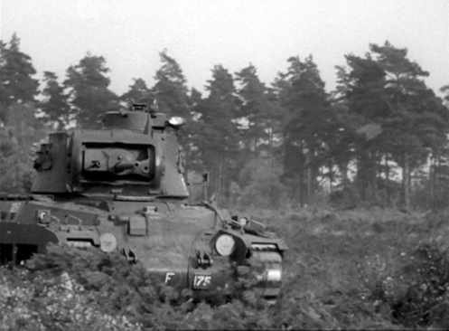 Front view of T10253, a Mark IIA* Matilda III, during a 'Tank Hunting' demonstration with a platoon of the 3rd Canadian Divisional Infantry Reinforcement Unit, in the vicinity of Headley, Hampshire, on 9 October 1941. Source: authors' collection.