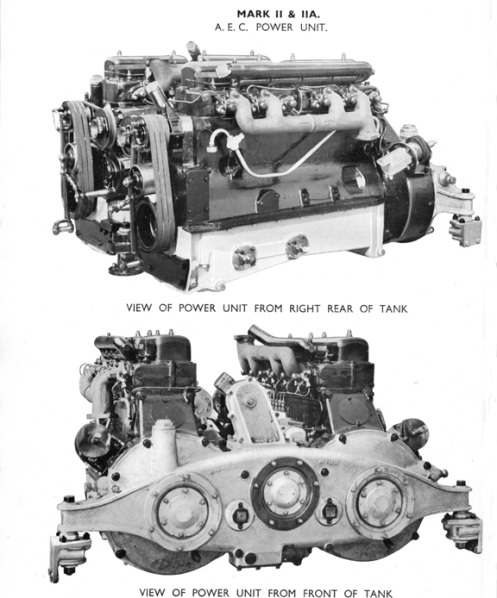 View of the twin AEC 6-cylinder diesel engines that were used in the Mark IIA Matilda II, as used by the Canadian Army Overseas. Source: authors' collection.