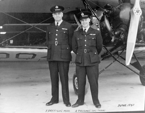 F. Pattison, Manager of the school and A. Parsons, Secretary-Treasurer. Note the unique wings worn by these two individuals. MilArt photo archives