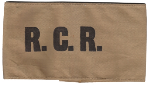 Plain armband of The Royal Canadian Regiment. Black silk-screened on tan cotton. B.Alexander © 2014. Image may not be used without express permission.