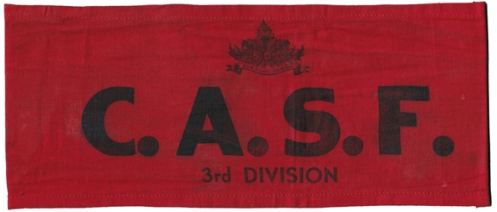 Stormont, Dundas and Glengarry armband. This example displays their 3rd Division status. Courtesy B. Alexander © 2014. Image may not be used without express permission.