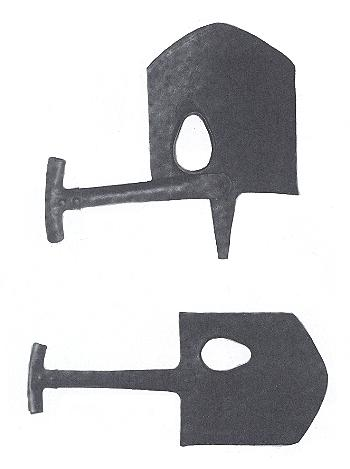 Top, The MacAdam shovel with the short handle pivoted for carry.  The spike was meant to support the shield but this proved impractical and the hole was found to be too low to permit accurate sighting. Bottom, With the handle in battery for digging.