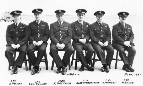 Staff of No.9 EFTS at St. Catharines. Note that there are no Engineering staff included in this photo. MilArt photo archives