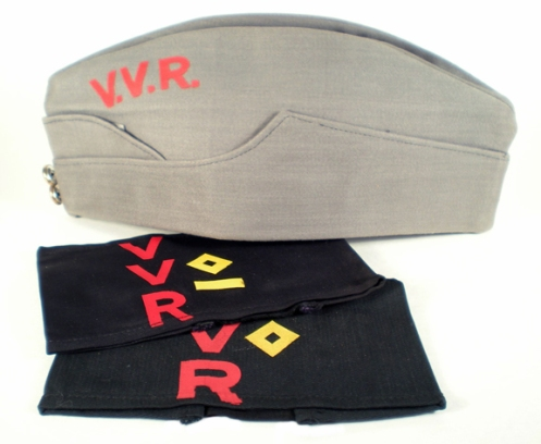 The VVR cap emulated the army's field service cap in design but was manufactured with the most economical material. These armband variants display VVR ranks but no documentation has been located to identify the various rank grades.