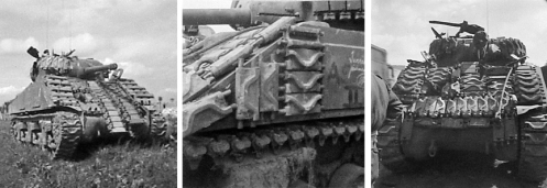 These photographs illustrate the lengths to which tank crew would go in using spare tracks, from whatever source,in their search for extra protection against German shaped-charge and high velocity rounds.]
