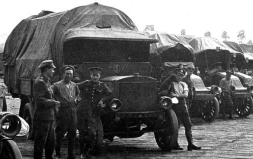 "Note the ""C-Two"" identification plate, shown here above the cowl on the nearest truck, and attached to the cab roof on the others, MilArt photo archives"