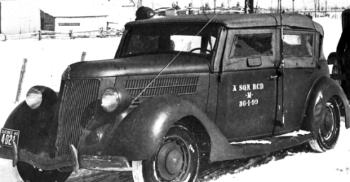 "This 1940-plated vehicle belongs to ""A"" Squadron, Royal Canadian Dragoons and is marked as ""M"" for motorcar and 36-1-99 denoting the 99th vehicle purchased in 1936. MilArt photo archives"