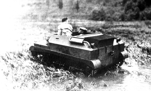 In the spring of 1946, a Tracked Jeep was sent up to Churchill, in Northern Manitoba to be tested in swampy sub-arctic conditions alongside the Muskrat and Mudcat (amphibious versions of the Armoured Snowmobile).