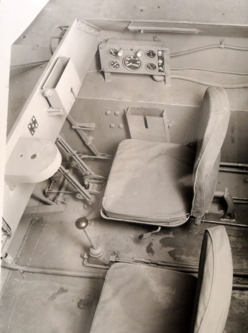 Crew compartment of the Tracked Jeep Mk.1, No. 1, photographed in June 1944. Note the driver is placed on the right side in accord with British practice. The co-driver operated a No.19 radio set (to be mounted under the dash) and a Bren light machine gun.