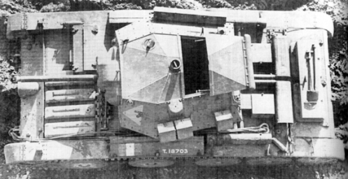 An overhead view of a Covenanter I, in British service, bearing British War Department number T18703, which was built under Contract number T.7219, by English Electric Valve Co., showing the driver's hatch in the closed position, and the turret full-width top hatch, in the open position. The three small external stowage bins, on the left-side of the turret, each held two 100 round drums of .303-inch ammunition, for the anti-aircraft/ground defence, .303-inch Bren light machine gun. The long bin on the right-side of the turret, was for the stowage of the .303-inch Bren light machine gun, when not in use. The marking on the front left-side of the turret, is that of the British Royal Armoured Corps Gunnery School, which was located at Lulworth Camp, Dorset. Source: authors' collection.