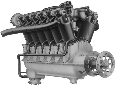 An example of the Liberty V12-cylinder 340-horsepower gasoline engine. Note the height and slimness of this engine, as compared to the flat and spread-out nature of the Meadows Flat 12-cylinder 300-horsepower engine. Source: authors' collection.