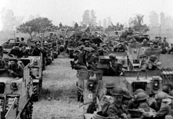 'Priest' Kangaroo armoured personnel carriers with troops of the 4th Canadian Infantry Brigade, 2nd Canadian Infantry Division aboard, on the evening of 7 August 1944 prior to the launch of Operation TOTALIZE. Source: 1 CACR Association & Archive.