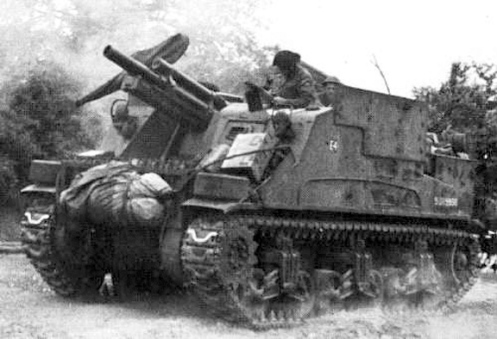 "An example of the M7 'Priest' 105-millimetre self-propelled gun, pictured here as No. 4 gun, ""E"" Troop, 78th Field Battery, 13th Canadian Field Regiment, Royal Canadian Artillery, 3rd Canadian Infantry Division, in Normandy, July 1944. This particular vehicle (S215830) was itself converted to a 'Priest' Kangaroo armoured personnel carrier, and subsequently was one of the initial 50 issued to the 1st Canadian Armoured Personnel Carrier Squadron, on 1 September 1944. Source: MilArt photo archive."