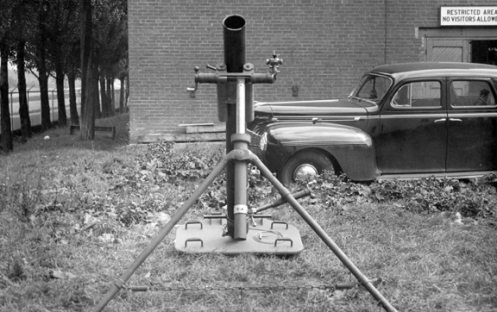 A rear view of the Canadian 120mm mortar.