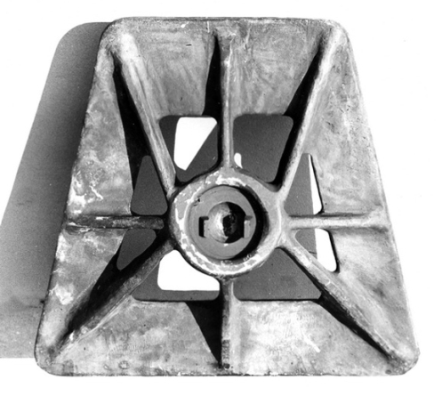 Lightened base-plate for a 3-inch mortar, socket side up, June 1944.