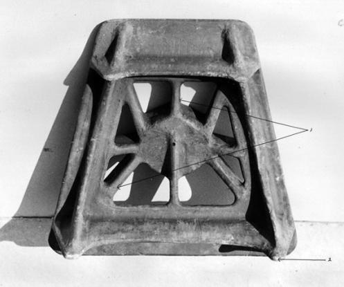 Lightened base-plate for a 3-inch mortar, under-side, June 1944.