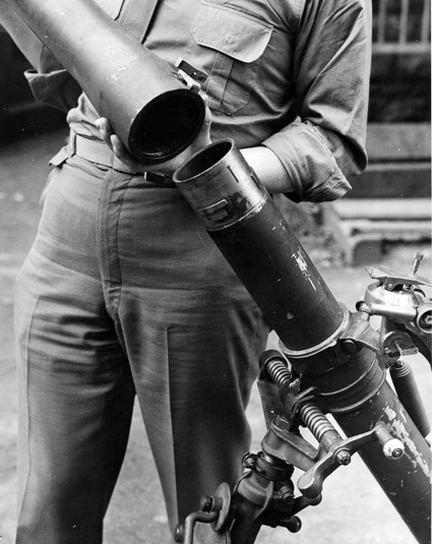 Fitting the barrel extension to a modified 3-inch mortar.