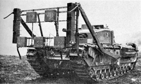 "A front view a Churchill Mark III tank, named ANGELA, of No. 2 Troop, ""A"" Squadron, The  Calgary Regiment, at Whitley, Surrey, fitted with the ""Onion"" explosive device. Note the pair of hinged legs at the bottom and two fixed outward-facing legs at the top. Also, of  note, is the placement of the high explosive charges on the sides and face of the framework. Source: authors' collection."