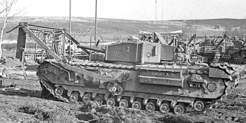 "A left-side view of ANGELA, of No. 2 Troop, ""A"" Squadron, The Calgary Regiment, at Whitley, Surrey. The two poles sticking up to the right front of ANGELA are those of the ""Churchill with Bangalore Torpedoes"" device, which is fitted to another Calgary Regiment tank. Source: MilArt  photo archive."