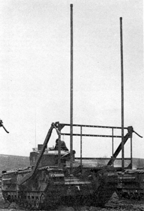"A Churchill Mark III tank of No. 11 Troop, ""C"" Squadron, The Calgary Regiment, at Whitley, Surrey, fitted with two upright ""Bangalore Torpedoes"" to the face of the ""Onion"" vertical framework. Source: authors' collection."