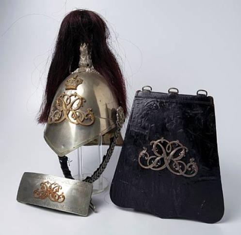 Helmet, cross-belt pouch and sabretache to Montreal's Royal Guides, formerly in the Baraukus collection. Courtesy Bonham's auction house