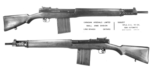Canadian Arsenals Ltd. EX2 prototype automatic rifle, chambered to the US T65 .30-06 round. MilArt photo archives
