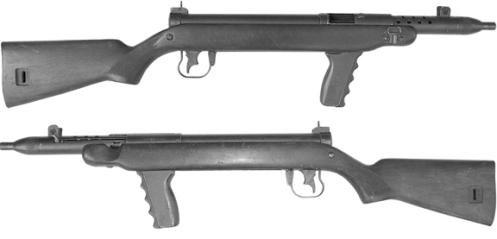 The Machine Carbine designed by Anton Rosciszewski of SAL, note the dual-action trigger which allowed selective fire. MilArt photo archives